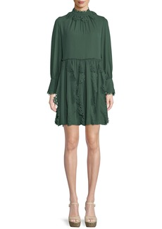 See by Chloé Floral Lace Puff-Sleeve Midi Dress