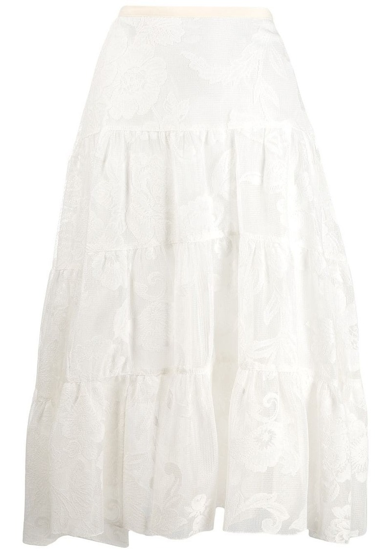 See by Chloé floral mesh tiered skirt