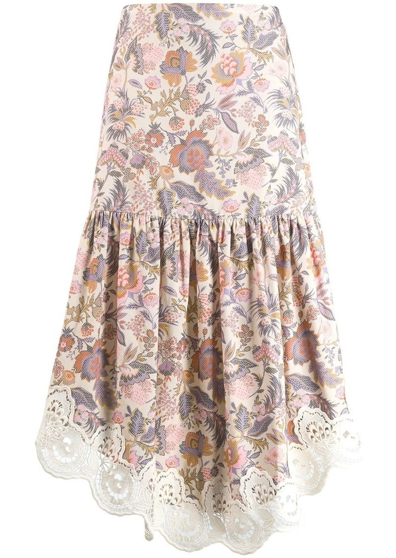 See by Chloé floral print asymmetrical skirt