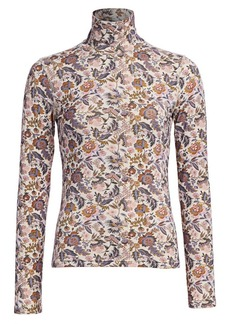 See by Chloé Floral Print Wool-Blend Turtleneck Sweater