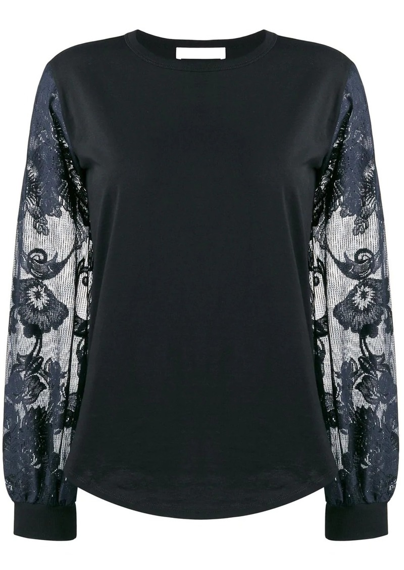 See by Chloé floral-sleeve top