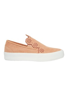 Floral Suede Slip-On Sneakers