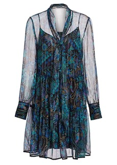 See by Chloé Floral Tie-Neck Chiffon-Silk Long-Sleeve Mini Shirtdress