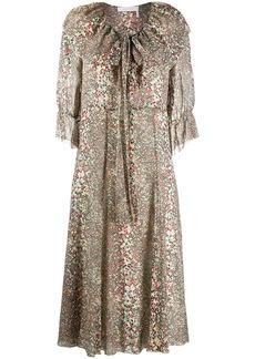 See by Chloé flouncy pythonskin print midi dress