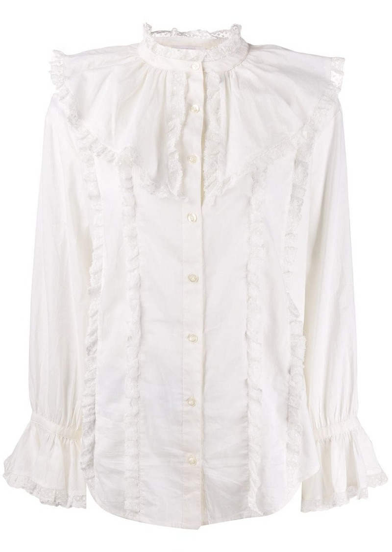 See by Chloé frill-trim fitted blouse