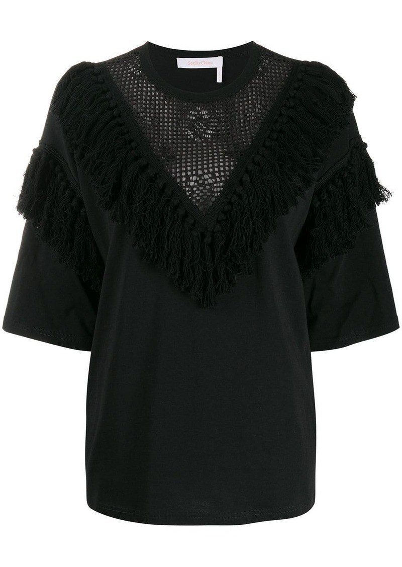 See by Chloé fringed lace-detail blouse