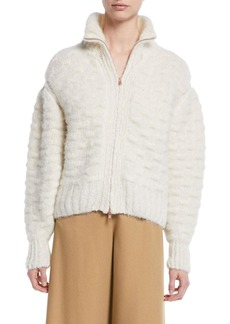See by Chloé Fuzzy Zip-Front Knit-Back Jacket