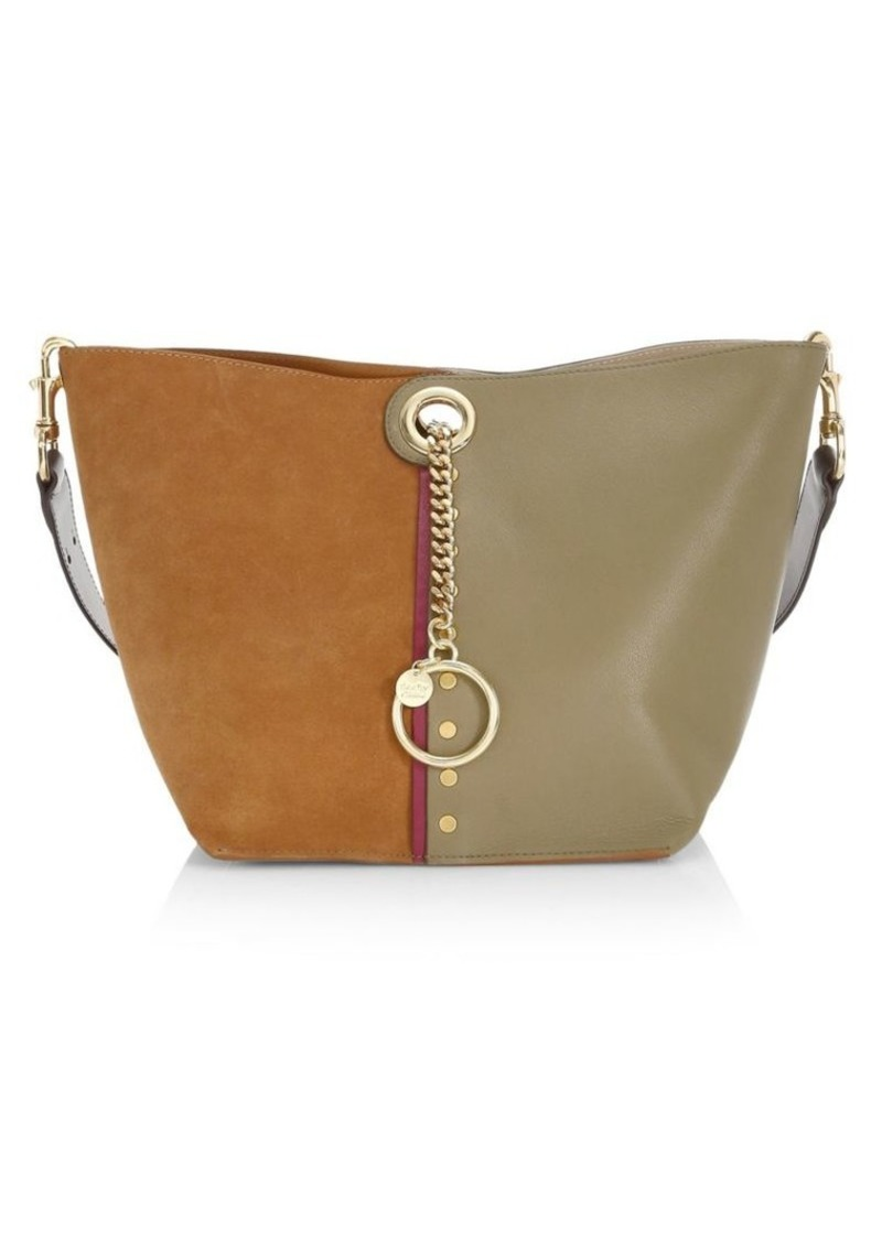 See by Chloé Gaia Colorblocked Suede & Leather Tote Bag