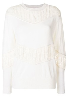 See by Chloé gathered lace panel sweater