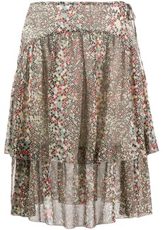 See by Chloé geometric print double-layer skirt