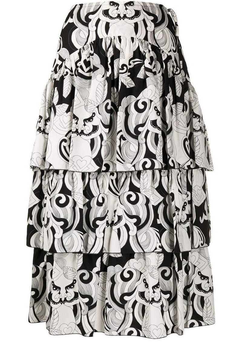 See by Chloé geometric print midi skirt