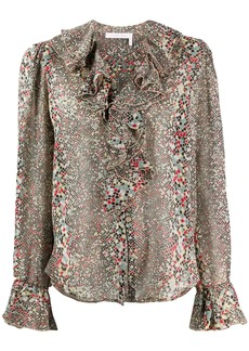 See by Chloé geometric print ruffle blouse