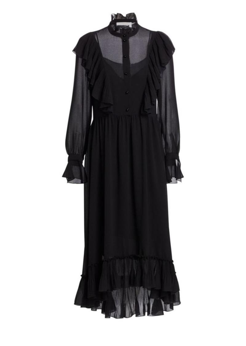 See by Chloé Georgette Long-Sleeve Midi Dress