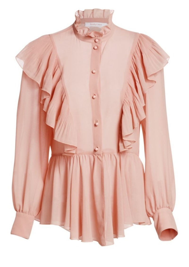 See by Chloé Georgette Ruffle Peplum Blouse