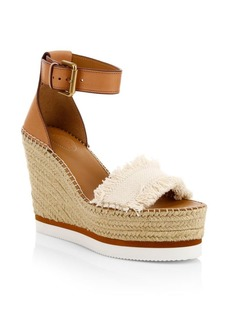 See by Chloé Glyn Leather & Canvas Platform Espadrille Wedge Sandals
