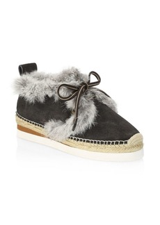 See by Chloé Glyn Lace-Up Fur-Trim Espadrilles