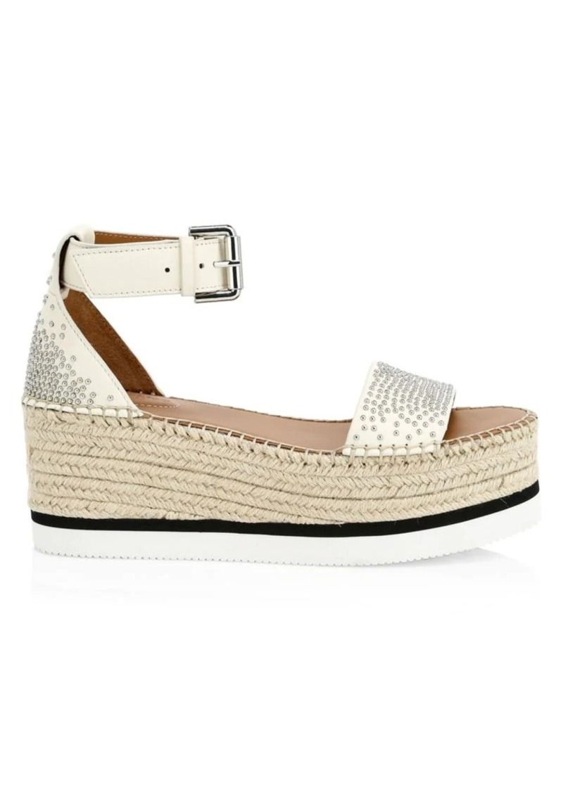 See by Chloé Glyn Studded Leather Platform Espadrille Wedge Sandals