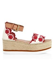 See by Chloé Glynn Floral Platform Wedge Sandals