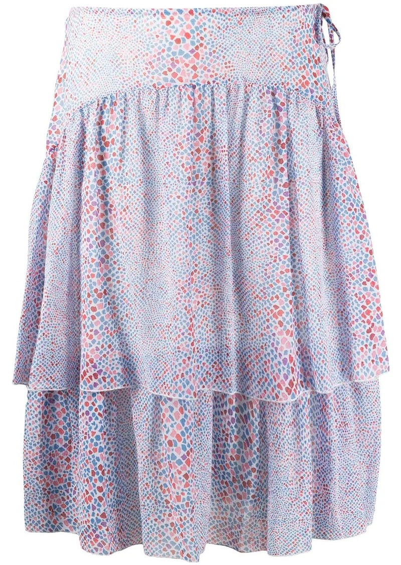 See by Chloé graphic print tiered skirt