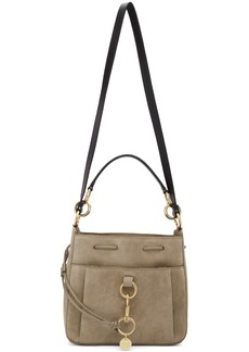 See by Chloé Grey Large Suede Tony Bucket Bag