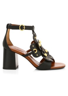 See by Chloé Haya Floral Leather Sandals