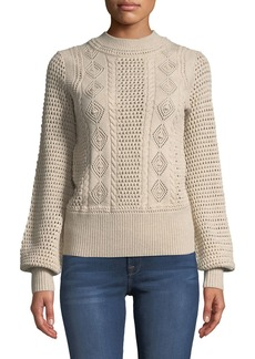 See by Chloé High-Neck Balloon-Sleeve Knit Pullover Sweater