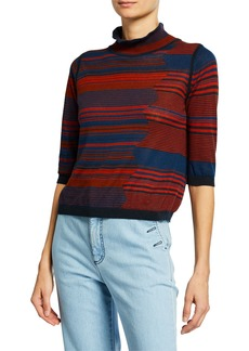 See by Chloé High-Neck Jacquard 3/4-Sleeve Sweater