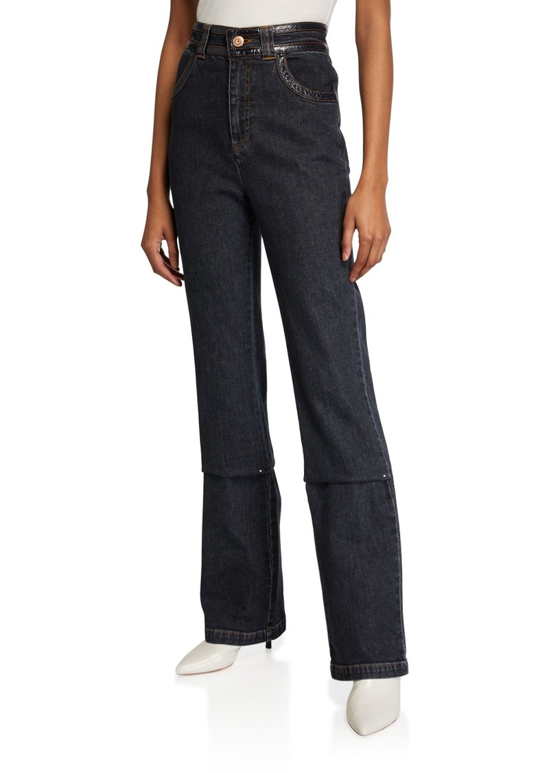 See by Chloé High-Rise Boot-Cut Jeans w/ Patent Trim