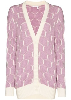 See by Chloé intarsia knit honeycomb pattern cardigan