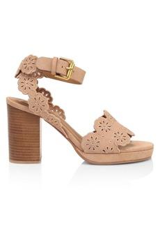 See by Chloé Kristy Floral Suede Platform Sandals