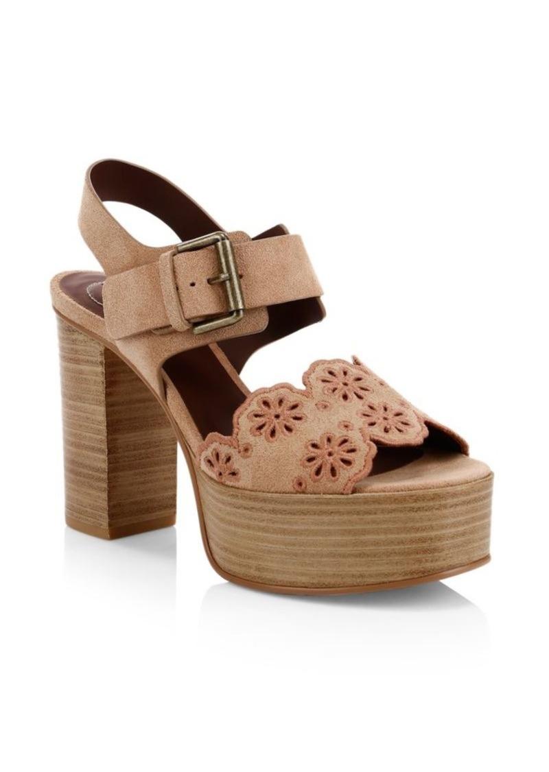 See by Chloé Krysty Floral Laser-Cut Suede Platform Sandals