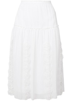 See by Chloé lace-embroidered midi skirt
