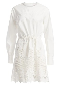 See by Chloé Lace Eyelet Puff-Sleeve Drawstring A-Line Poplin Dress