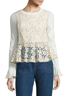 See by Chloé Lace-Front Peplum Bell-Sleeve Top