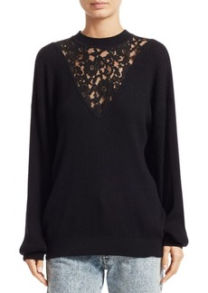 See by Chloé Lace Inset Wool & Cotton Knit