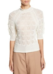 See by Chloé Lace Knit High-Neck Short-Sleeve Sweater