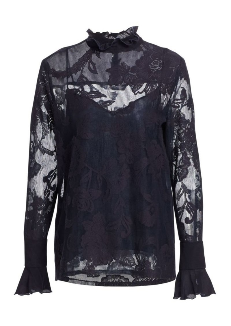 See by Chloé Lace Overlay Long-Sleeve Blouse