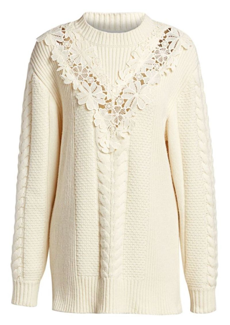 See by Chloé Lace Panel Cableknit Sweater