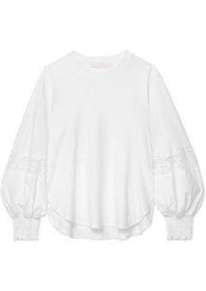 See by Chloé Lace-paneled Cotton-jersey Sweatshirt