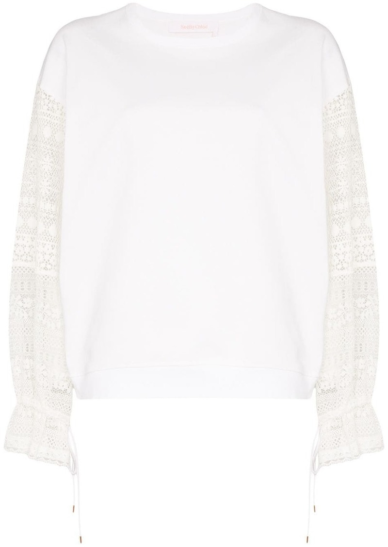See by Chloé lace-panelled cotton top