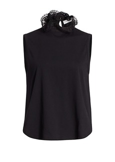 See by Chloé Lace Ruffle Neck Sleeveless T-Shirt