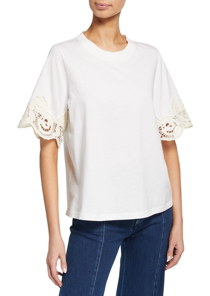 See by Chloé Lace-Trim Crewneck Tee