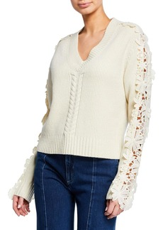 See by Chloé Lace-Trim V-Neck Pullover Sweater