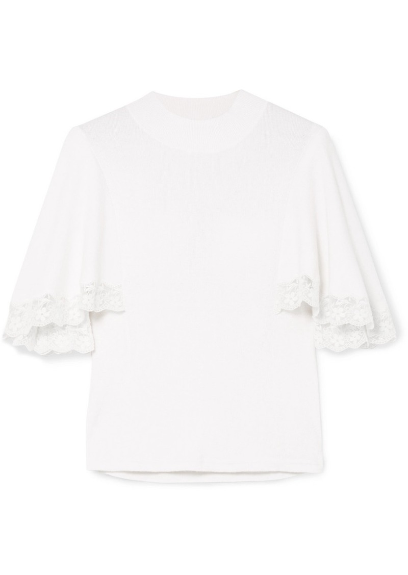 See by Chloé Lace-trimmed Ribbed Cotton-blend Top