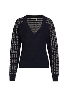 See by Chloé Lacy Knit Wool-Blend Pullover