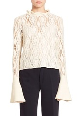 See by Chloé Laser-Cut Bell-Sleeve Top