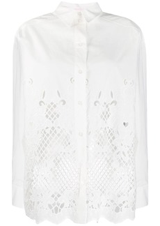 See by Chloé laser-cut longline shirt