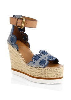 See by Chloé Laser Cut Wedge Espadrille Sandals