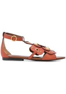 See by Chloé layered floral flat sandals