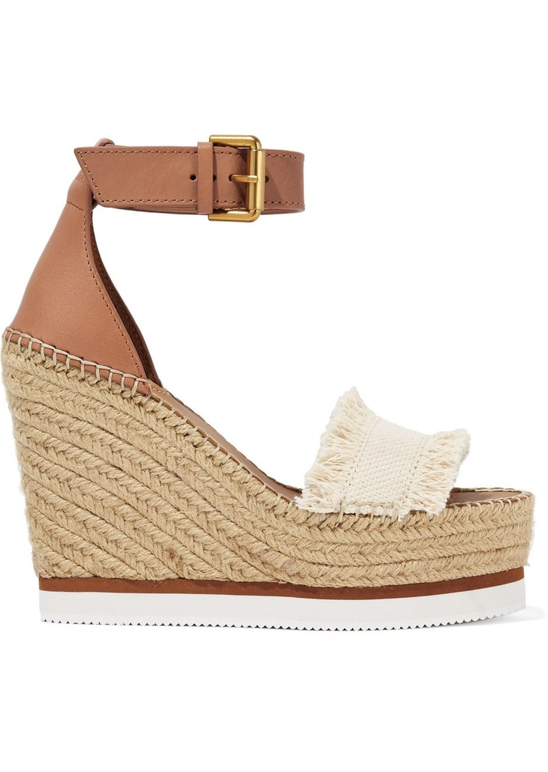 See by Chloé Leather And Canvas Espadrille Wedge Sandals